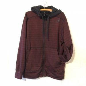 Adidas Heather Red Climawarm Full Zip Hoodie Large